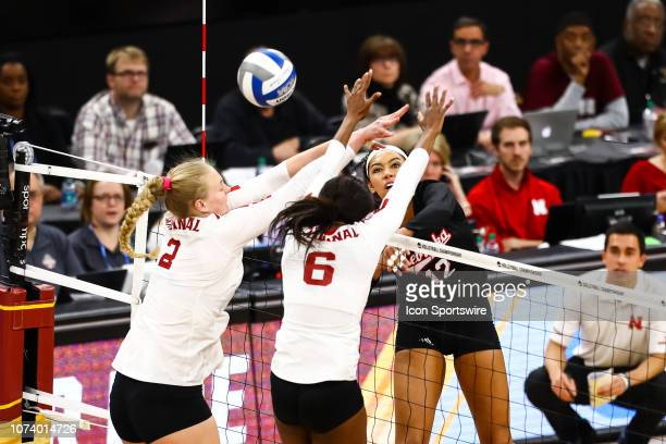 Nebraska Cornhuskers outside hitter Jazz Sweet spikes the ball in the 1st set during the match between the Stanford Cardinal and the Nebraska...
