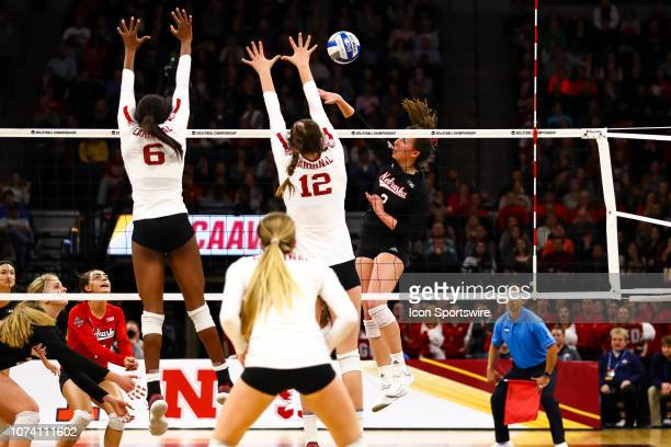 Nebraska Cornhuskers outside hitter Mikaela Foecke hits the ball in the 3rd set during the match between the Stanford Cardinal and the Nebraska...