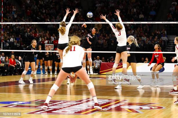 Nebraska Cornhuskers outside hitter Mikaela Foecke spikes the ball in the 3rd set during the match between the Stanford Cardinal and the Nebraska...
