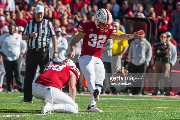Nebraska Cornhuskers place kicker Barret Pickering kicks a field goal during the game between the BethuneCookman Wildcats and the Nebraska...