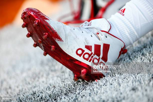 Nebraska Cornhuskers player's Adidas shoe is seen before the game against the Illinois Fighting Illini at Memorial Stadium on September 29 2017 in...