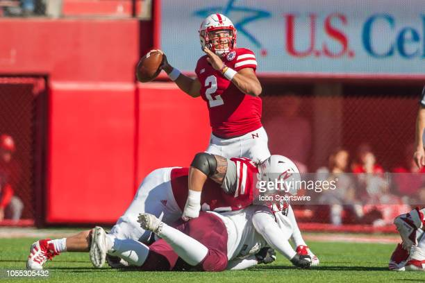 Nebraska Cornhuskers quarterback Adrian Martinez prepares to pass the ball downfield during the game between the BethuneCookman Wildcats and the...