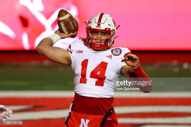 Nebraska Cornhuskers quarterback Brayden Miller during warm up prior to the college football game between the the Rutgers Scarlet Knights and the...