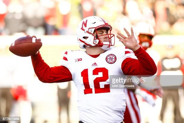 Nebraska Cornhuskers quarterback Patrick O'Brien throws a pass in the 3rd quarter during the Big Ten Conference game between the Nebraska Cornhuskers...