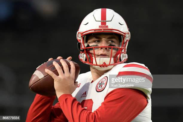 Nebraska Cornhuskers quarterback Patrick O'Brien warms up for the Big Ten conference game between the Purdue Boilermakers and the Nebraska...
