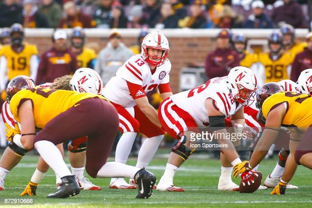 Nebraska Cornhuskers quarterback Tanner Lee comes under center for the snap in the 1st quarter during the Big Ten Conference game between the...