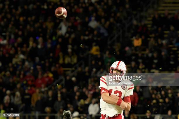 Nebraska Cornhuskers quarterback Tanner Lee releases a pass during the Big Ten conference game between the Purdue Boilermakers and the Nebraska...