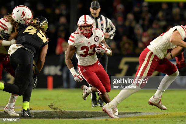 Nebraska Cornhuskers running back Jaylin Bradley finds a gap in the Purdue Boilermakers defense during the Big Ten conference game between the Purdue...