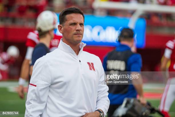 Nebraska defensesive coordinator Bob Diaco on the field for warmups before the game against the Arkansas State Red Wolves on September 02 2017 at...