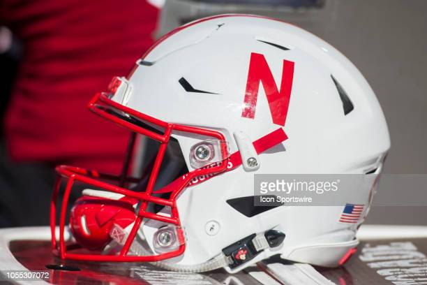 Nebraska Football Helmet sits atop an equipment case during the game between the BethuneCookman Wildcats and the Nebraska Cornhuskers on Saturday...