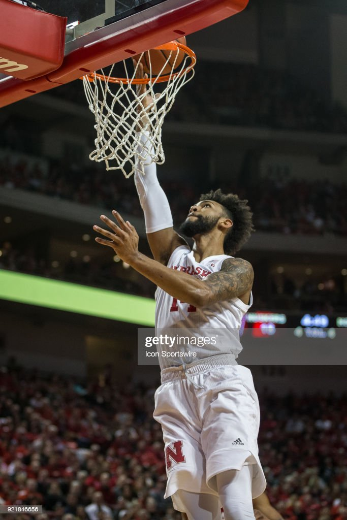 Nebraska forward Isaac Copeland Jr. (14) makes a lay up against Indiana during the first half of a college basketball game Tuesday, February 20th at the Pinnacle Bank Arena in Lincoln, Nebraska. Nebraska takes the win over Indiana 66 to 57.