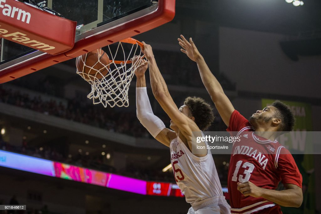 \ Nebraska forward Isaiah Roby (15) dunks the ball against Indiana forward Juwan Morgan (13) during the first half of a college basketball game Tuesday, February 20th at the Pinnacle Bank Arena in Lincoln, Nebraska. Nebraska takes the win over Indiana 66 to 57.
