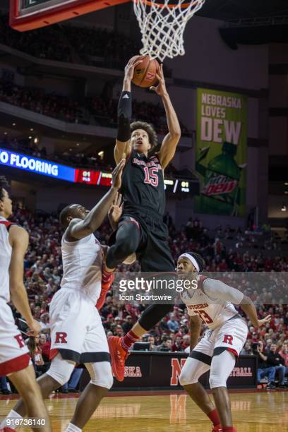Nebraska forward Isaiah Roby makes a lay up against Rutgers forward Mamadou Doucoure during the first half of a college basketball game Saturday...