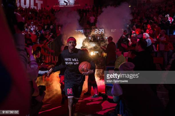 Nebraska guard Glynn Watson Jr wearing a Hate Will Never Win on his tshirt leads the team on to the court to take on Rutgers Saturday February 10th...