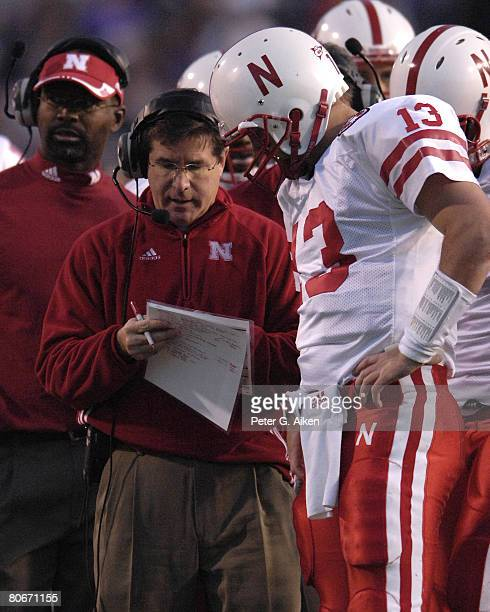 Nebraska head coach Bill Callahan set up a play with quarterback Zac Taylor in the second half at Bill Snyder Family Stadium in Manhattan Kansas...