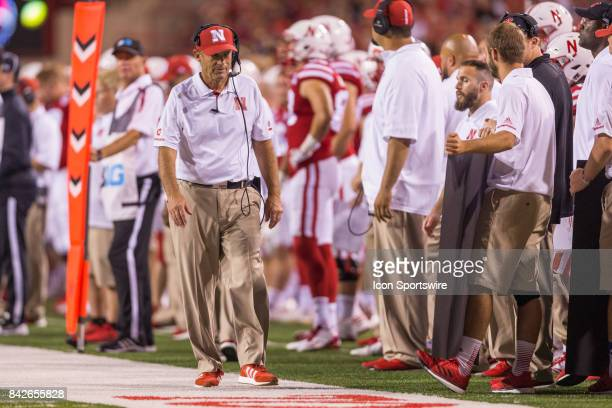 Nebraska head coach Mike Riley walks along the sideline during the first half against the Arkansas State Red Wolves on September 02 2017 at Memorial...