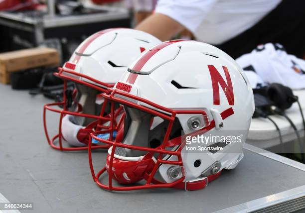 Nebraska helmets sit on an equipment box during a college football game between the Nebraska Cornhuskers and Oregon Ducks on September 9 at Autzen...