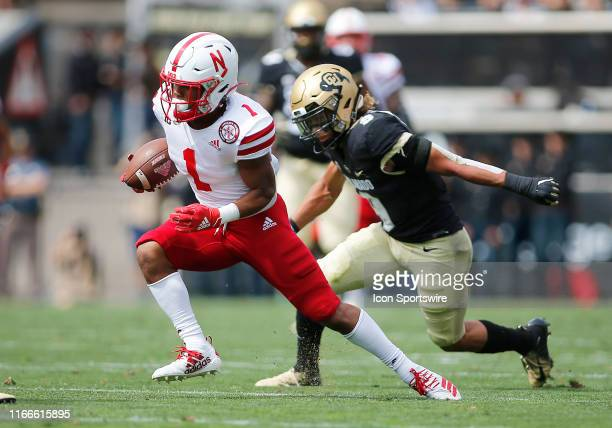 Nebraska Huskers wide receiver Wan'Dale Robinson runs with the ball following a reception during a game between the Colorado Buffaloes and the...