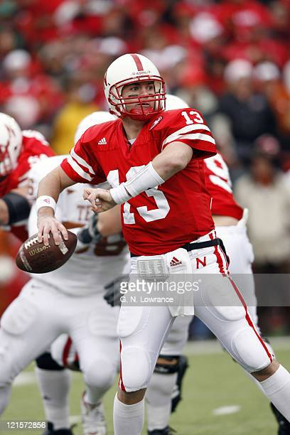 Nebraska quarterback Zac Taylor drops back to pass during action between the Texas Longhorns and Nebraska Cornhuskers on October 21 2006 at Memorial...