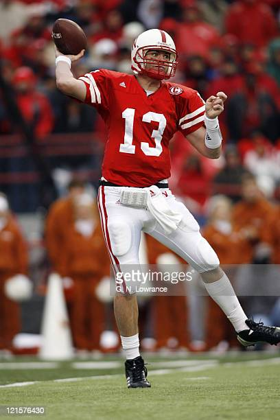 Nebraska quarterback Zac Taylor throws a pass during action between the Texas Longhorns and Nebraska Cornhuskers on October 21 2006 at Memorial...