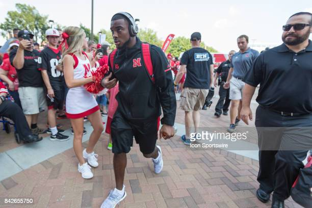 Nebraska wide receiver De'Mornay PiersonEl makes his way to the stadium during the unity walk before the game against the Arkansas State Red Wolves...
