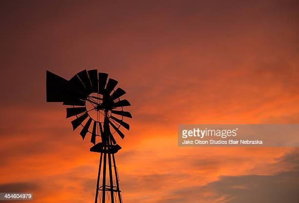 Nebraska Windmill Sunset