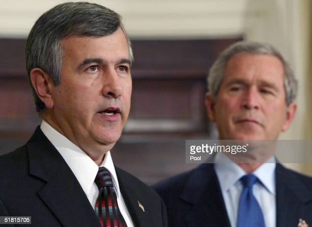 Nebraska's Republican Governor Mike Johanns speaks in the Roosevelt Room of the White House after being nominated as Secretary of the Department of...