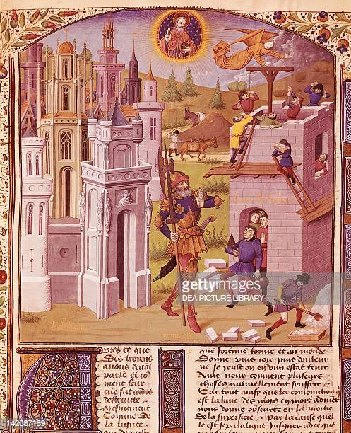Nebuchadnezzar and the building of the tower of Babylon miniature from Chronicles of Bouquechardiere manuscript folio 181 recto 15th Century