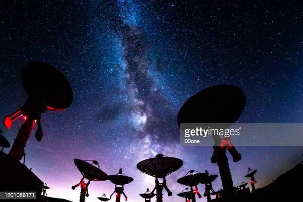 nevels van galaxy - orbiting stockfoto's en -beelden