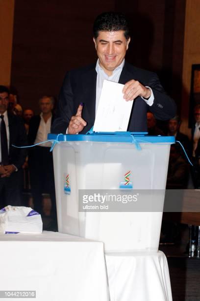 Nechirvan Barzani bei der Abstimmung über die Unabhängigkeit Kurdistans in Erbil