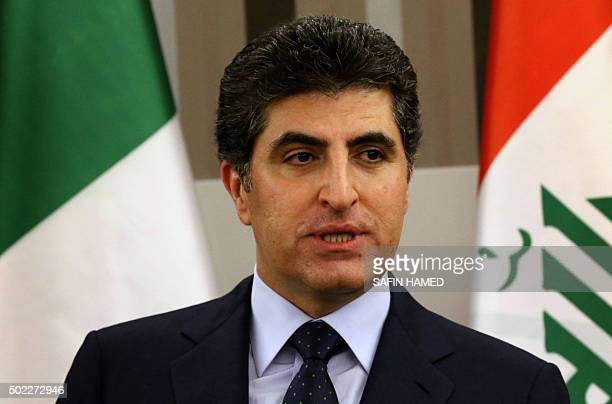 Nechirvan Barzani Prime Minister of Iraq's autonomous Kurdish region gives a speech during the opening ceremony of the Italian Consulate in Arbil the...