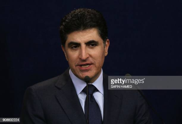 Nechirvan Barzani prime minister of Iraq's Kurdistan Regional Government speaks during a press conference in the northern Iraqi city of Arbil on...
