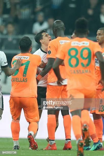 Necip Uysal of Besiktas argues with players of Aytemiz Alanyaspor during a Turkish Super Lig week 27 soccer match between Besiktas and Aytemiz...