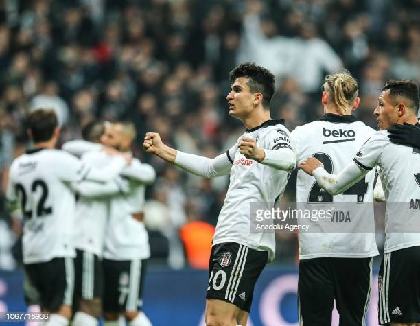Necip Uysal of Besiktas celebrates after the Turkish Super Lig soccer match between Besiktas and Galatasaray at Vodafone Park in Istanbul Turkey on...