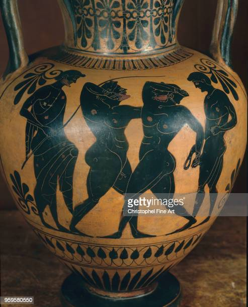 Neck amphora, last quarter of the sixth century, black figure decoration, Leagros Group - boxing, Greek Art, Louvre Museum, Greece.