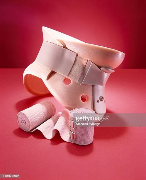 Neck brace and bandages