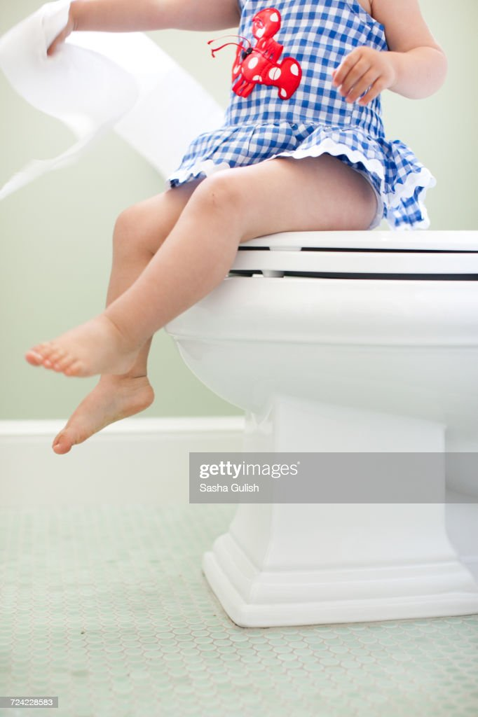 Admirable Neck Down View Of Female Toddler Sitting On Toilet Seat Pabps2019 Chair Design Images Pabps2019Com