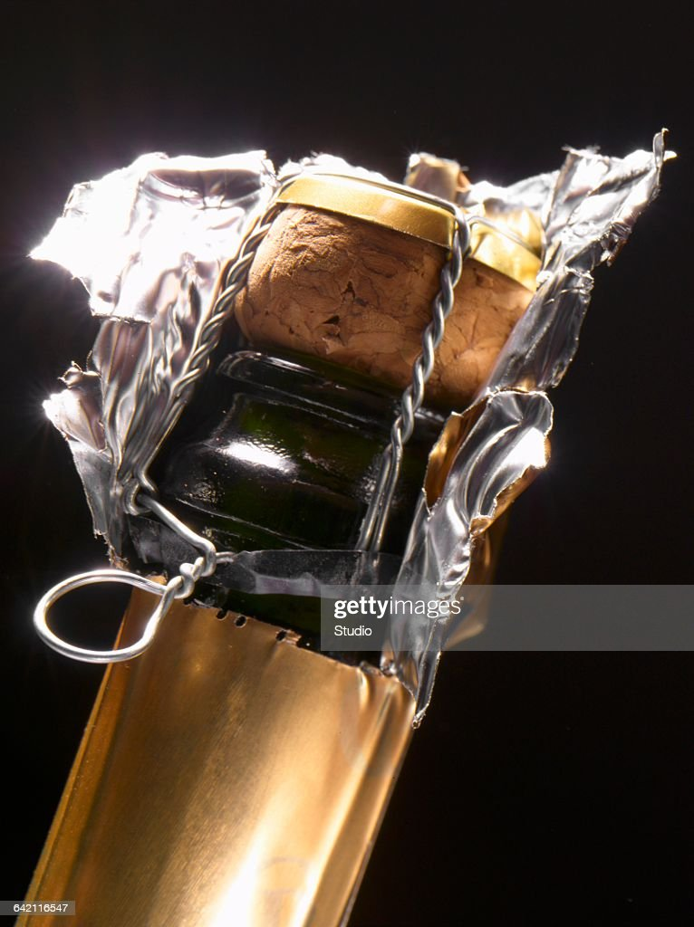 Neck of a champagne bottle : Stock Photo