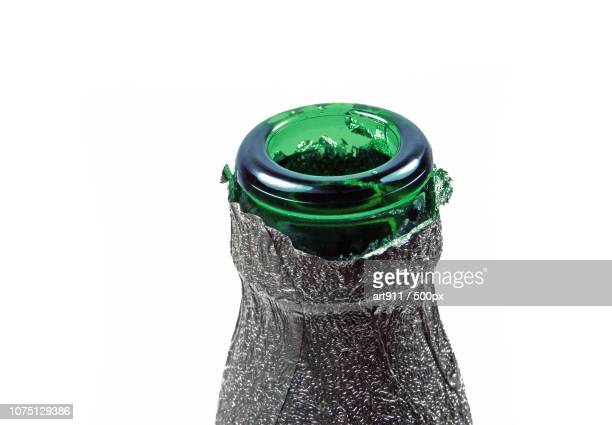 neck of green bottle - bottle green stock pictures, royalty-free photos & images