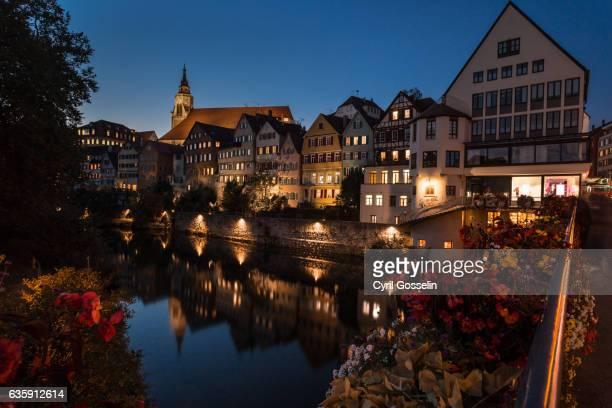 neckarfront in tübingen - spiegelung stock pictures, royalty-free photos & images