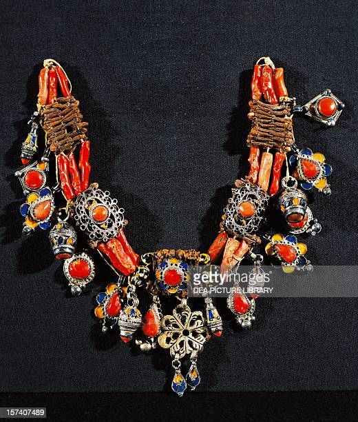 Necklace from Upper Kabylie silver coral and semiprecious stones Algeria 19th century Paris Musée National Des Arts Africains Et Oceaniens