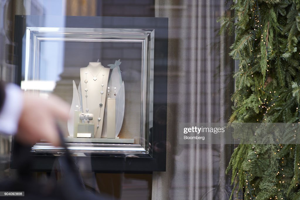 A necklace hangs in the window display of a luxury jewelry store in Munich, Germany, on Tuesday, Jan. 9, 2018. The German economy's solid 2017 performance extended into the final three months of the year, with growth of about half a percent. Photographer: Dominik Osswald/Bloomberg via Getty Images