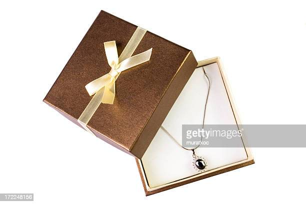 necklace in a gift box - jewelry box stock pictures, royalty-free photos & images