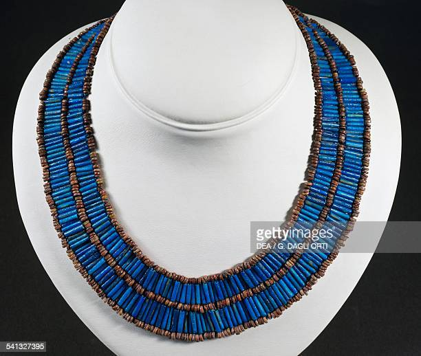 Necklace made from blue cylindrical beads and majolica beads Egyptian civilisation Middle Kingdom 20401650 BC