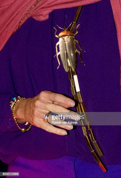 Necklace of Queen Maxima of The Netherlands during her arrival at the military airport Figo Maduro on October 09 2017 in Lisboa CDP Portugal