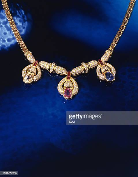 Necklace with jewels, high angle view