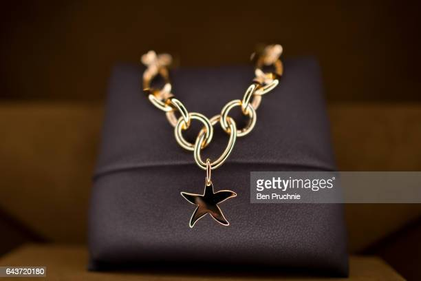 A necklace with the value of 1420 GDP is displayed at Sharps Pixley Bullion Brokers on December 15 2015 in London England The brand established in...