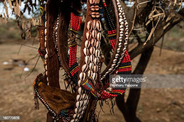 Necklaces and bracelets colorful Hamer tribe during the bull jumping ceremony. Bull jumping ceremony is a rite of passage ceremony for men coming of...