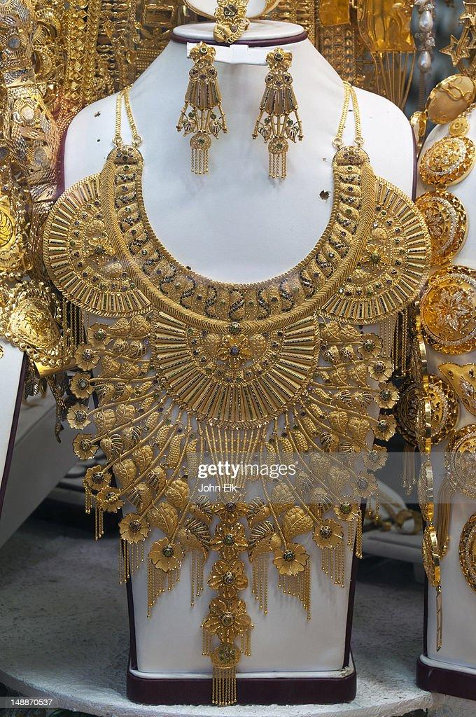 Necklaces At Gold Souk Bur Dubai Stock Photo | Getty Images