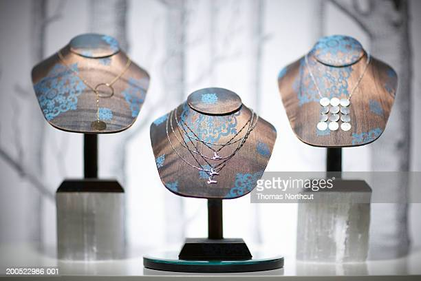 Necklaces on display in retail store